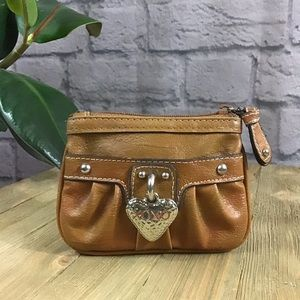 🌈 SALE! 3/$10 Xoxo Tan silver coin purse wallet